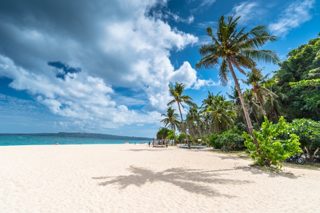 morning view of famous Puka beach on Boracay Island, Philippines